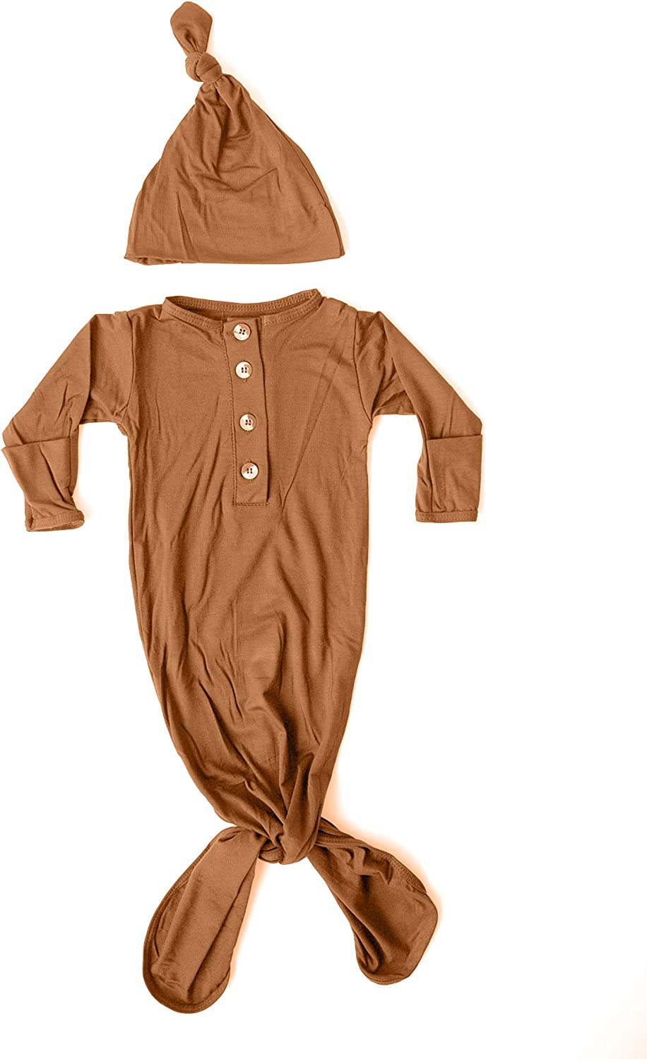 Stroller Society Knotted Newborn Baby Gown and Hat Set Camel Brown, Soft and Stretchy Newborn Sleep Gown 0-3 months, Coming Home Outfit Girl or Boy
