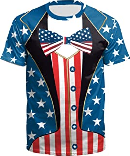 BesserBay Unisex Adult American Flag T Shirt Independence Day Tee July 4th Tshirt