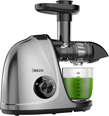 Juicer Machines, Jocuu Slow Juicer Masticating Juicer with 2-Speed Modes, Cold Press Juicer Extractor Easy to Clean, Quiet Motor, Reverse Function, with Brush and Recipes, for Fruits and Vegtables