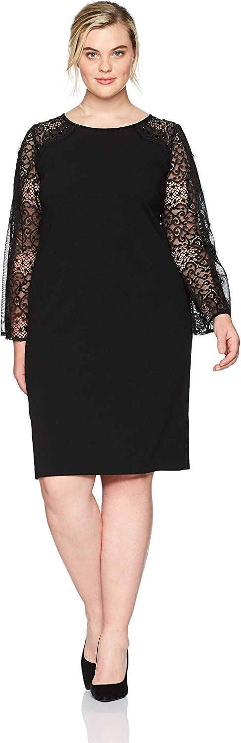Alex Evenings Womens PlusSize Short Shift Dress with Illusion Bell Sleeves Special Occasion Dress