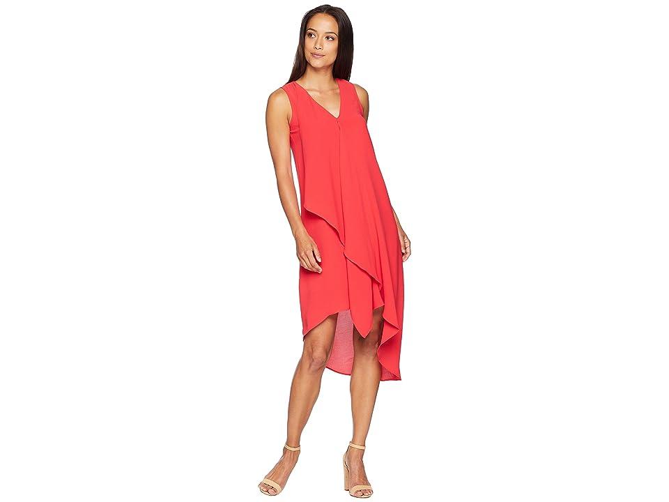 Adrianna Papell Asymmetrical Front Drape Dress (Geranium) Women