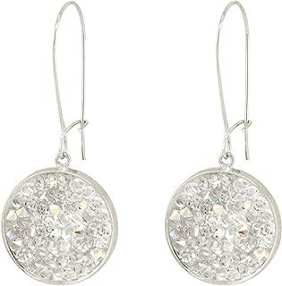 Mia - White Swarovski crystal hanging pave disc earrings, White sparkling crystals pave earrings
