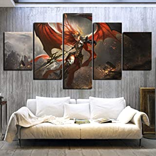 5 Pieces HD Fantasy Art Picture Female Warrior Goddess League Game Poster Painting Home Decoration Wall Art