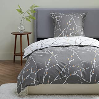 BEDSURE Bettwäsche 135x200 Mikrofaser 2teilig - Bettbezug 135 x 200 2er Set mit 80x80 cm Kissenbezug,Zweige grau für Einze...