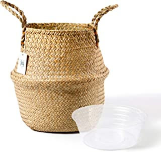 POTEY 710102 Seagrass Plant Basket - Hand Woven Belly Basket with Handles, Large Storage Laundry, Picnic, Plant Pot Cover,...