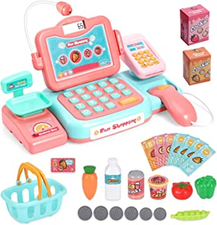 HOWADE Durable Cash Register Toy-Pretend Play Educational Cash Register with Scanner, Sound, Music, Microphone, Calculator...