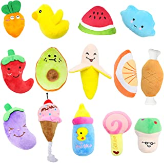 Stuffed Dog Toy, 14 Pack Dog Squeaky Plush Toys Cute Small Dog Puppy Toys Fruits Snacks Vegetables Squeaky Puppy Dog Chew ...