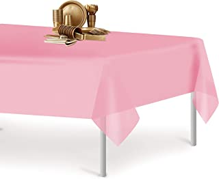 Pink 6 Pack Premium Disposable Plastic Tablecloth 54 Inch. x 108 Inch. Rectangle Table Cover By Dluxware