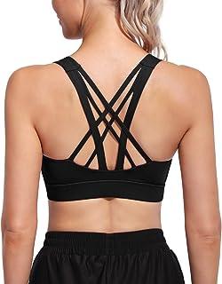 Promover Soutiens Gorge de Sport Rembourrés pour Femmes à Soutien Moyen Strappy Wirefree Yoga Workout Longline Camisole