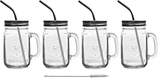 Mason Jar Mugs with Glass Handles and Metal Straws, Brimley 16oz Drinking Glasses Set of 4