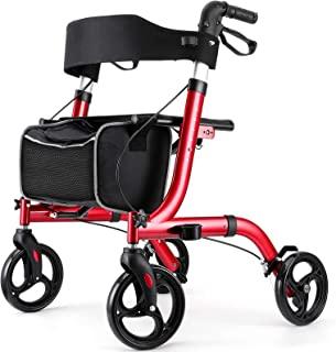 "RINKMO Rollator Walkers for Seniors- Rollator Walker with Seat 8"" Wheels- Easy Folding Senior Walker with Padded Backrest-..."