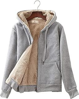 Flygo Womens Casual Winter Warm Sherpa Fleece Lined Full-Zip Hooded Jacket Coat