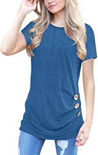 MOLERANI Women's Casual Short Sleeve Round Neck Loose Tunic T Shirt Blouse Tops