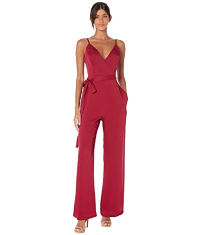 BCBGMAXAZRIA Belted Wrap Front Jumpsuit (Ruby Combo) Women