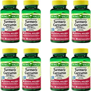 Spring Valley Stndr Turmeric Curcumin Complex Dietary Supplement Capsules, 500 mg, 90 Count Bottle (8 Pack)