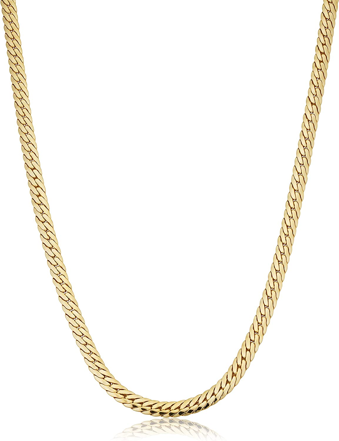 Solid 14k Yellow Gold Filled 4.8 mm Bombay Curb Chain Necklace for Men and Women (16, 18 or 20 inch)