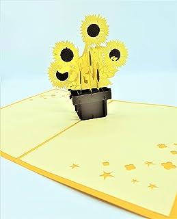 BC Worldwide Ltd biglietto pop-up 3D fatto a mano girasole compleanno, annversario di matrimonio, nuova casa, inaugurazion...
