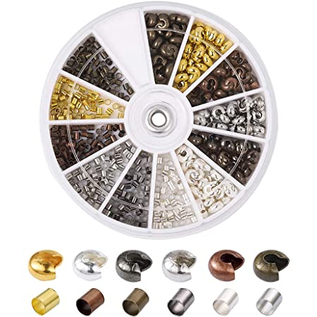 Pandahall 1Box//500pcs 6 Colors 3mm Iron Half Round Open Crimp Beads Covers Knot Covers Beads End Tips for Jewelry Makings Antique Bronze /& Red Copper /& Black /& Silver /& Golden /& Platinum Lead Free