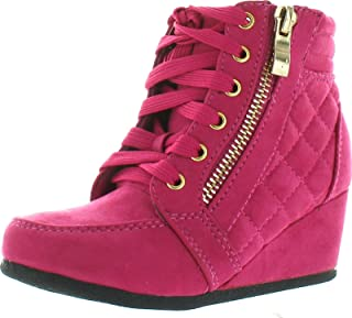 Link Poala 92k Little Girls Buckle Lace Up Ankle Wedge Booties