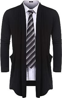 Men's Ruffle Shawl Collar Cardigan Sweater Long Length Overcoat with Pockets S-XXL