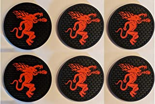 Fireball Cinnamon Whiskey 6 Rubber Bar Coasters Spill Mat Mini Bar Mats