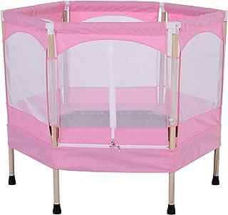 Homcom Trampoline Enfant dim. 126L x 109l x 98H cm Filet de sécurité Porte zipée Couvre-Ressorts Inclus Rose