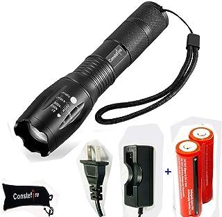 超高輝度懐中電灯,小さくて明るいライト!LED フラッシュライト 【500mまで照射可能 / XML-T6 1200 ルーメン超高輝度/ズーム可能 / 5つの点灯モード / 生活防水】 & AC充電器 + 2本セット 3000mAh 18650 3.7V 充電式リチウムイオン電池-野外/キャンプ/登山、夜釣り、自転車、バイク、洞穴作業、日常照明などに便利で大活躍!