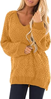 BLENCOT Women's Oversized Long Sleeve Fuzzy Sherpa Fleece Knit Pullover Sweaters Jumper Outwears