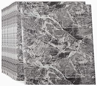 3D Wallpaper Marble Wall Panels Faux Brick Wallpapers Granite Wall Covering Peel and Stick 10 Packs 58.19 Sq feet for Living Room Bedroom Background Wall Decoration (Black, 30.31''L x 27.56''W)