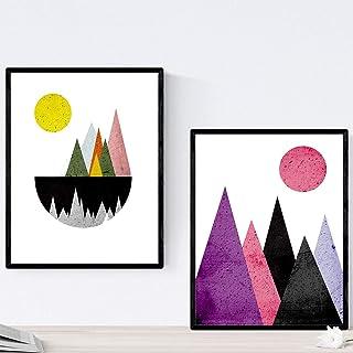 Nacnic Lot de 2 Posters pour encadrer Le Style géométrique. Affiches avec des Images de Montagnes. Taille 30x40 cm. Décora...