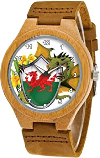 Men's Bamboo Wooden Watch with Brown Cowhide Leather Strap Welsh Dragon Flag Casual Watches