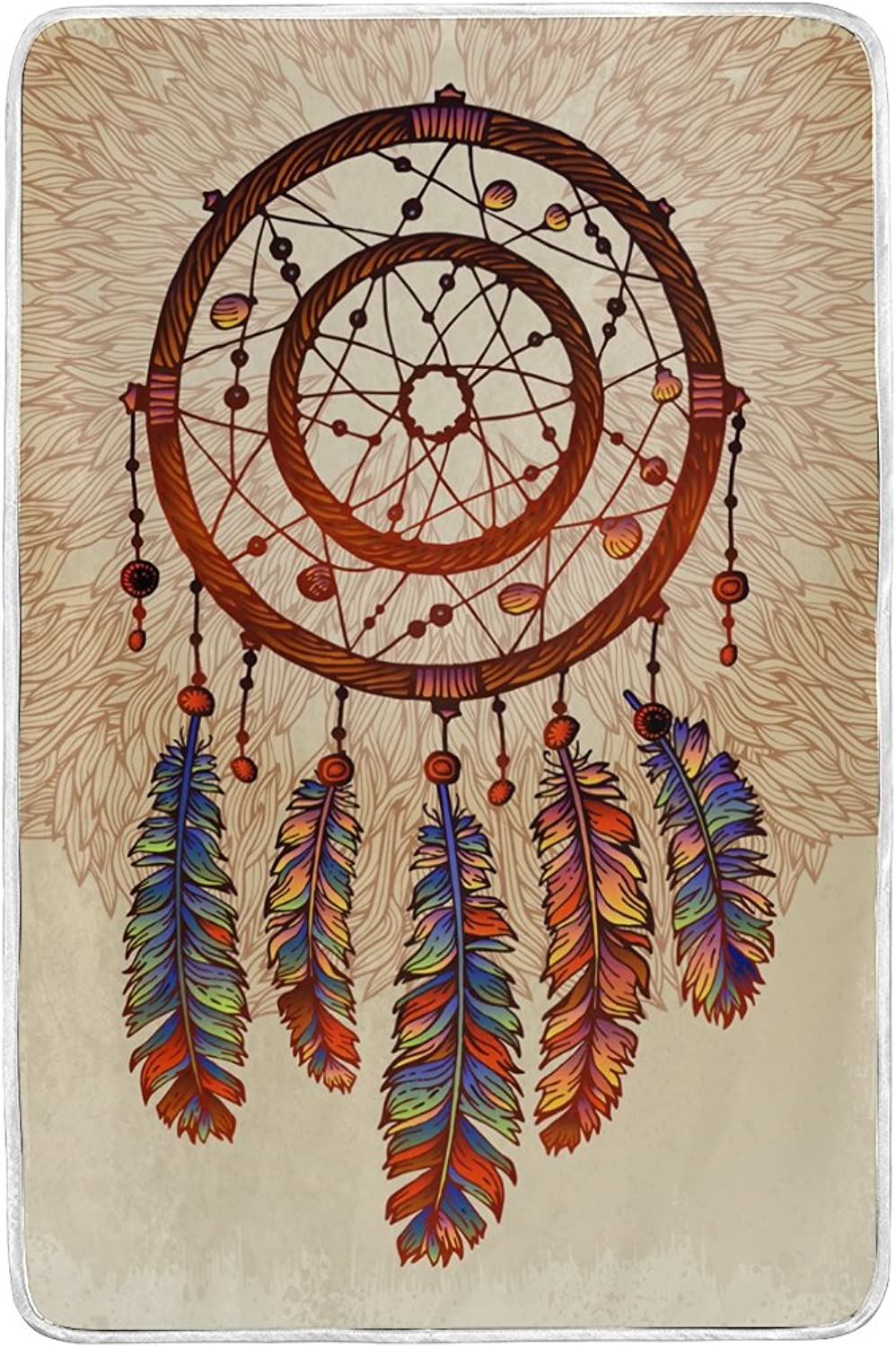 ALAZA Dreamcatcher with Feathers Gemstones Blankets Lightweight Blanket for Adults Men Women Girls Kids Girls Boys Teens Extra Soft Polyester Fabric Super Warm Sofa Blanket Throw Size 60 x 90 inch