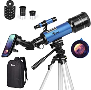 TELMU Telescope 70mm Aperture Refracting Telescope Adjustable(17.7In-35.4In) Portable Travel Telescopes for Astronomy with Backpack, Phone Adapter for Any Model