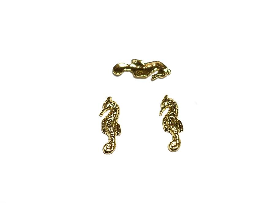 ラインナップ危機カテゴリー【jewel】メタルネイルパーツ タツノオトシゴ 5個入 ゴールドorシルバー スタッズ ジェルネイル デコ素材 (ゴールド)