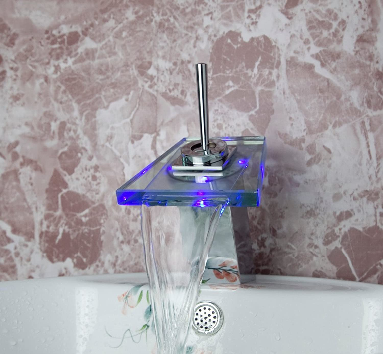 Retro Deluxe FaucetingSingle Swivel Handle Led Chrome Faucet Sink Mixer Waterfall Bathroom Basin Tap Glass color Changing Tree471