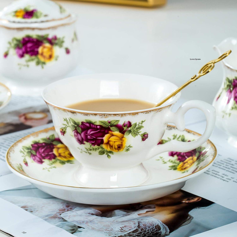 骨瓷茶杯和茶碟套装,带金属勺