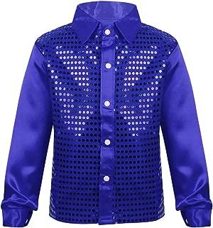 ACSUSS Kids Boys Sequin Long Sleeves Shirt Stage Performance Jazz Hip-Hop Choir Dance Costume Weding Party Dancewear