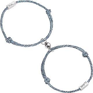 Diealles Shine 2Pcs Coppia Bracciale Magnetico Coppia Bracciale Corda Intrecciata Regalo Set di Gioielli per Donna Uomo,Love