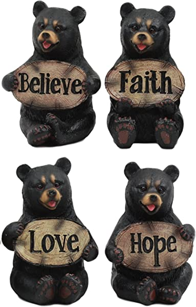 Ebros Set Of Four Inspirational Bears Statues Whimsical Cute Black Bear Holding Love Believe Faith And Hope Sign Plaque Small Figurines Western Decor Rustic Nature Lovers Gift 1