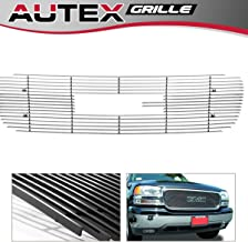 AUTEX G65703A Polished Horizontal Main Upper Billet Grille Insert Compatible With GMC Sierra 1500 1999-2000,GMC Yukon/Yukon Denali 2000-2006,GMC Sierra All 2001-2002,GMC Sierra Denali 2002-2006 Grill