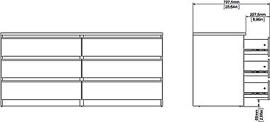 Tvilum Scottsdale 6 Drawer Double Dresser, Black Wood Grain