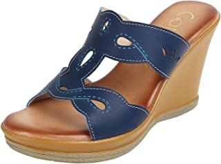 Catwalk Blue Wedges Slip on Sandals