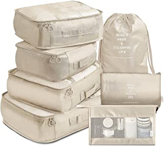 Goodern 7 Piece Packing Cubes with Shoe Bag - Travel Carry On Luggage Organizer