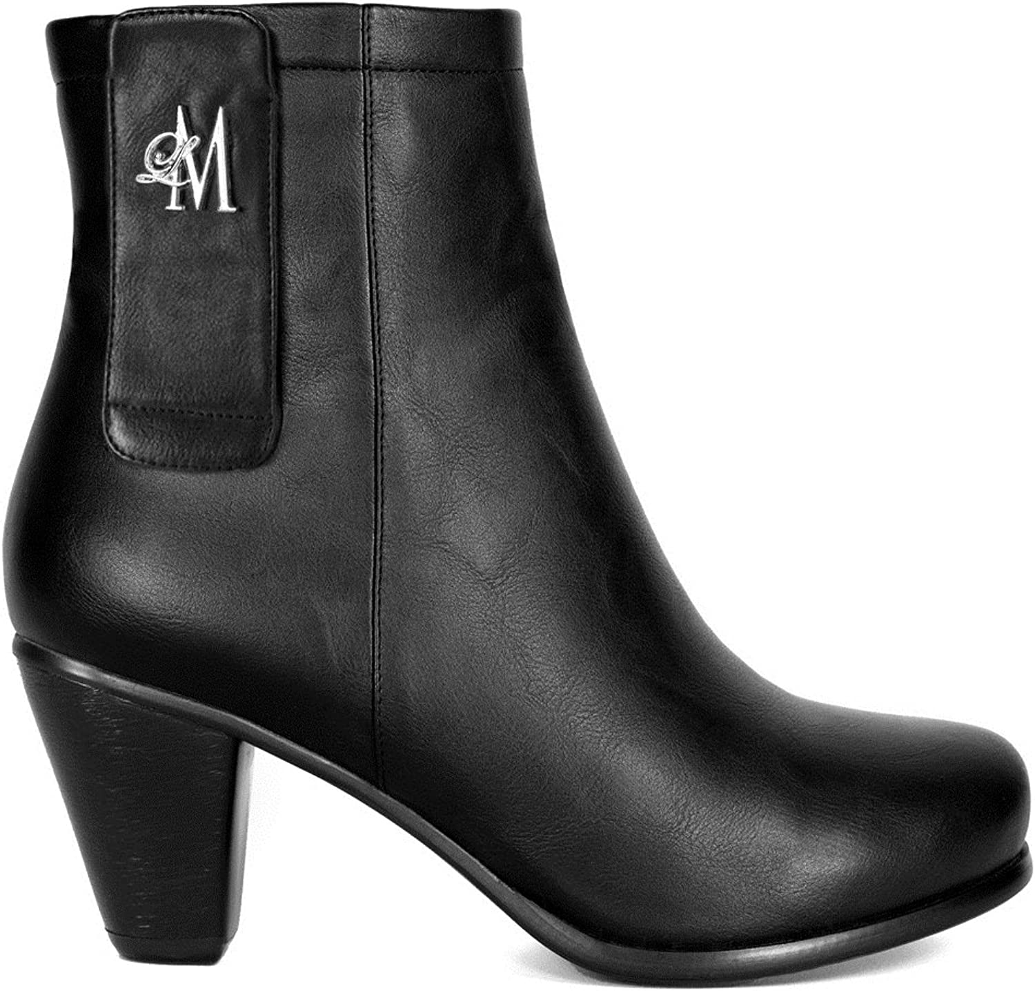 Llynda More Women's 'More Light' Faux Leather Comfortable Mid Heel Ankle Boot