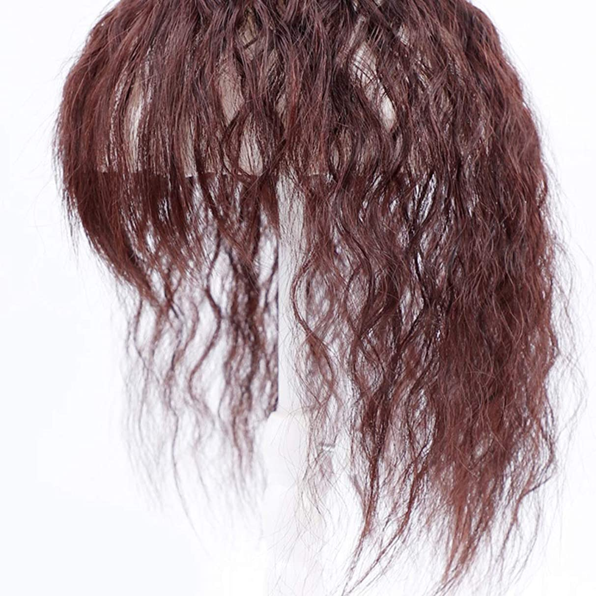 リア王踏み台たらいBOBIDYEE ヘアエクステンションダークブラウンウィッグパーティーかつらで女性のクリップのためのコーンの長い巻き毛 (色 : Dark brown, サイズ : 25cm)