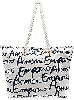 Emporio Armani Classic Beach Womens Beach Bag One Size Bianco Stampa Logo