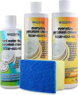Megabrite Toilet Cleaning Kit- Pumice Stone Liquid Gel Toilet Bowl Cleaner and Hard Water Stain Remover – Natural Non Toxi...
