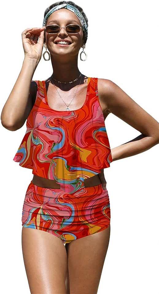 Angerella Womens Absctract Pattern Summer Flounce Bikinis High Waisted Swimsuits,S-14