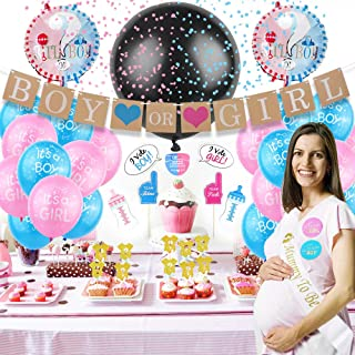 Gender Reveal Party Supplies & Tableware Set (97 Pieces) | Serves 24 Guests | Complete Gender Reveal Decoration Set with P...