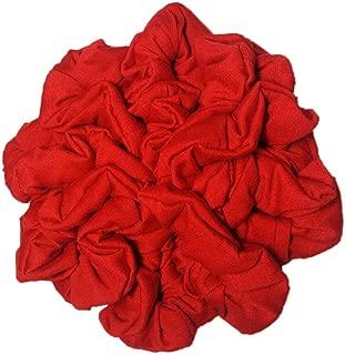 Cotton Scrunchie Set, Set of 10 Soft Cotton Scrunchies, Solid Color Packs (Red)